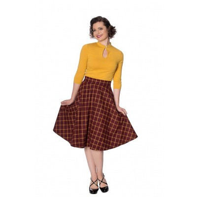 Rok Ladies Day, swingmodel geblokt, rood geel