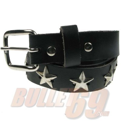 Foto van Bullet69 - Leren riem, 25mm, zwart met metalen sterren