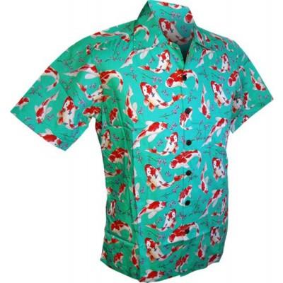 Foto van Overhemd korte mouw, Koi, turquoise