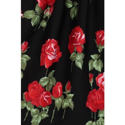 Foto van Jurk Antonia, zwart met rode rozen