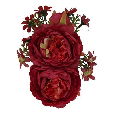 Foto van Collectif - Haarbloem en broche Lorna, rode bloemen