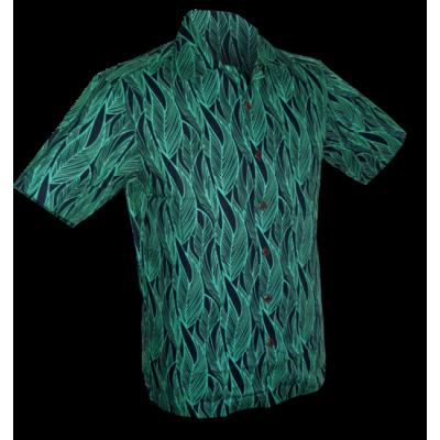 Overhemd korte mouw, leaves navy turquoise