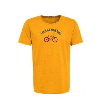 Green Bomb | T-shirt bike leave road, bio katoen goud geel