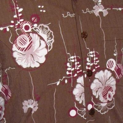 Foto van Overhemd korte mouw Japanese Leaves bruin