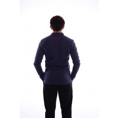 Foto van Polo Enne met lange mouw, blauw en rood jaquardpatroon