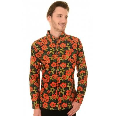 Overhemd retro, floral poppy button down
