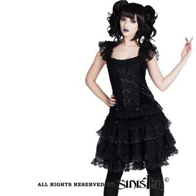 Foto van Minirok Luna, zwart fluweel met laagjes kant
