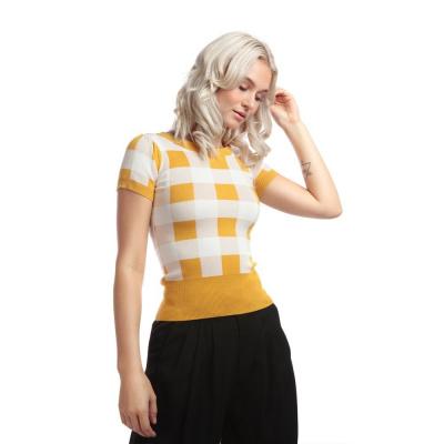 Foto van Collectif | Truitje Sydney Gingham, geel wit geblokt met korte mouwen