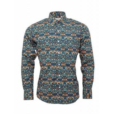 Foto van Overhemd met lange mouw, blauw met bloemen patroon