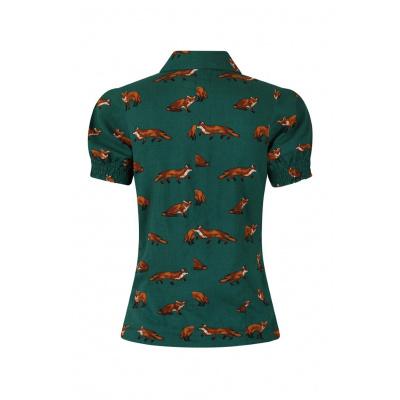 Foto van Hell Bunny | Donkergroene blouse Vixey met vosjes