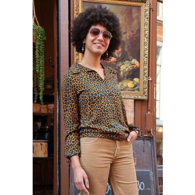 ATO Berlin | Blouse Liana, leopard print bruin blauw
