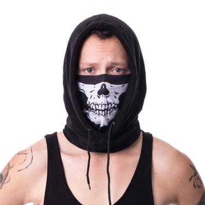 Poizen Industries | Capuchon sjaal zwart met skull print