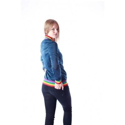 Foto van Sportjas Anne, blauw met regenboog boorden