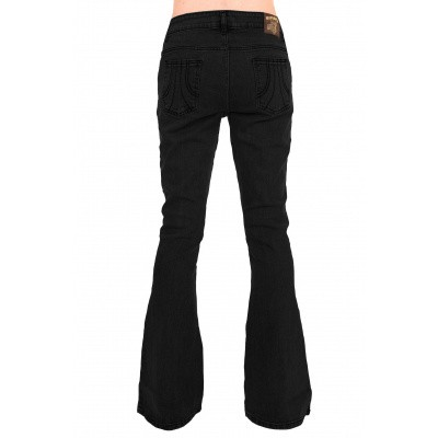 Foto van Bell bottom zwarte stretch denim broek, retro