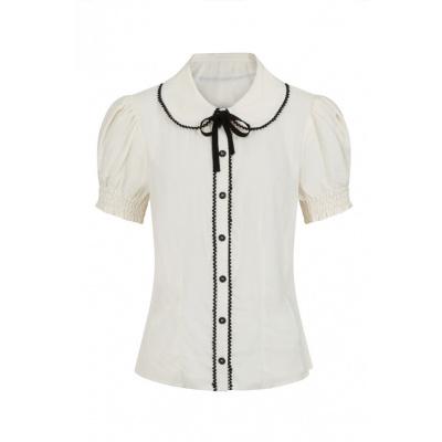 Foto van Hell Bunny | Ivory blouse Calliste met kraagje