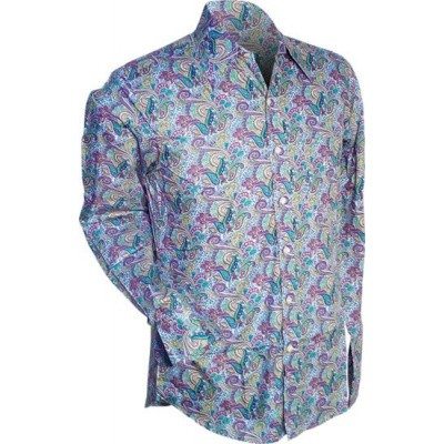 Foto van Overhemd retro, Paisley lichtblauw