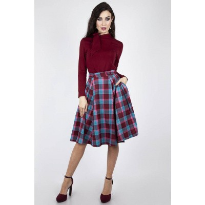 Foto van Rok Piper Plaid Pleated, bordeaux blauw