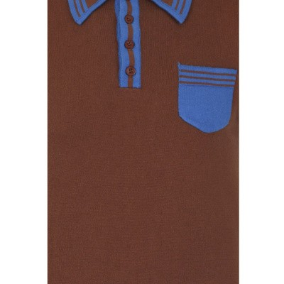 Foto van Collectif, Polo Peru Classic, bruin blauw