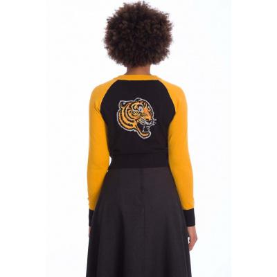Foto van Banned | Zwarte cardigan Tiger Queen met gele details