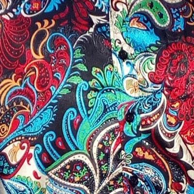 Foto van Overhemd retro, Paisley Colourful, satijn