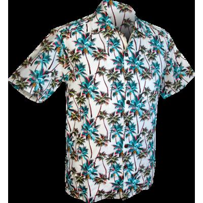 Foto van Overhemd korte mouw, Palmen creme