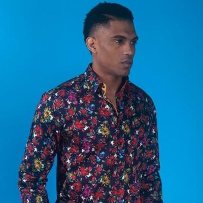 Foto van Overhemd rozenprint, blauw