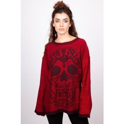Foto van Trui sweater rood Ammonia, skull print