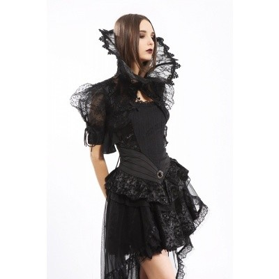 Foto van Jurk Gothic, met zwart kant, broche en sleep
