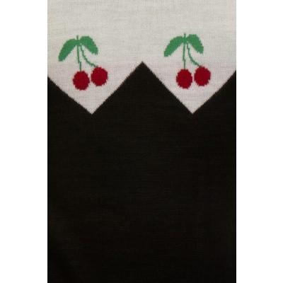 Foto van Jumper met korte mouw, zwart wit met kersen borduursel