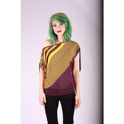 Foto van Shirt top Mona paars geel gestreept