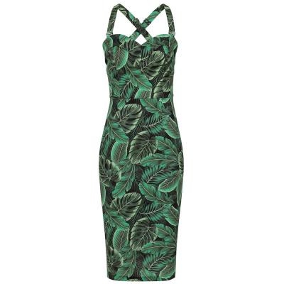 Foto van Collectif   Pencil jurk Kiana Tropics met bladeren groen