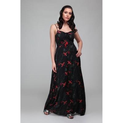 Foto van Maxi-jurk Tara Phoenix, zwart met feniks print