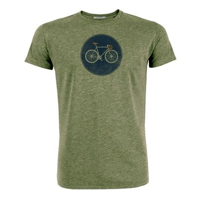 T-shirt bike shield bio katoen mid heather khaki