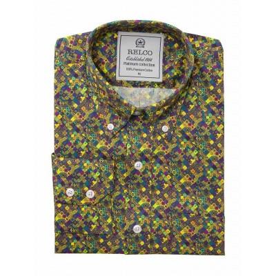 Foto van Overhemd met lange mouw, groen multi psychedelic print