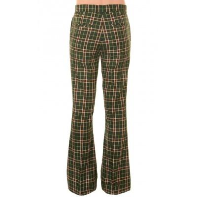 Foto van Pantalon met wijde pijp groene tartan