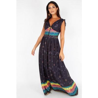 Foto van Maxi jurk Megan Fiesta, zwart met gekleurde aztec print