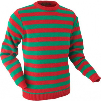 Retro trui, groen rood gestreept