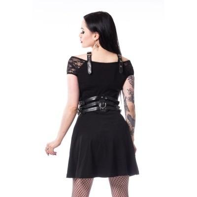 Foto van Jurk Laura zwart met leatherlook harnas