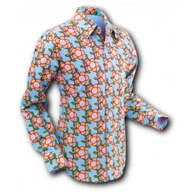 Overhemd Seventies Flowergrid Blue