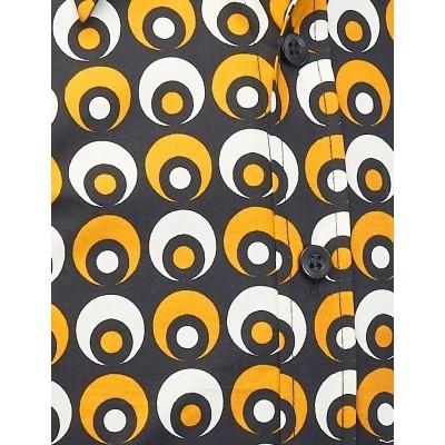 Foto van Overhemd seventies Retro Eyeball Creme Zwart Geel