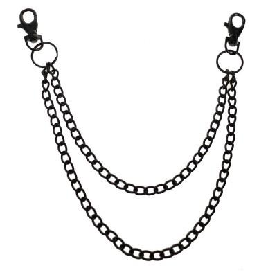 Foto van Sleutelhanger met dubbele ketting, zwart metaal