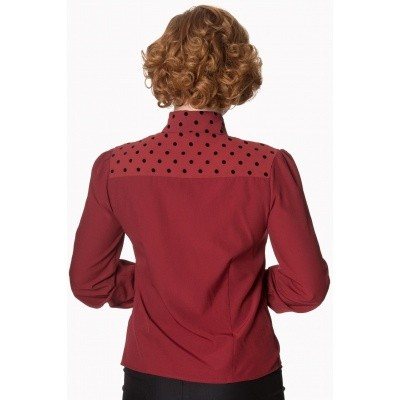 Foto van Blouse sent with love tie bordeaux