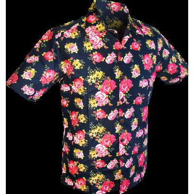 Foto van Overhemd korte mouw, Rozen navy blauw