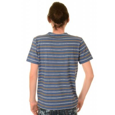 Foto van T-shirt, retro cobalt blauw gestreept