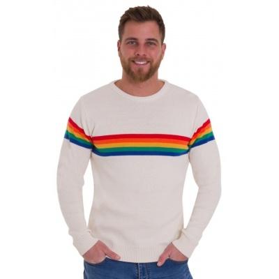 Jumper ecru Retro rainbow