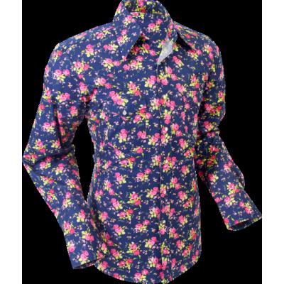 Foto van Overhemd cowboy, roses navy