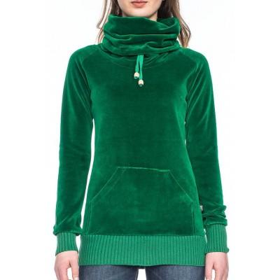 Foto van Ato Berlin - Trui Mathilde grote kraag, groen Nicki velours