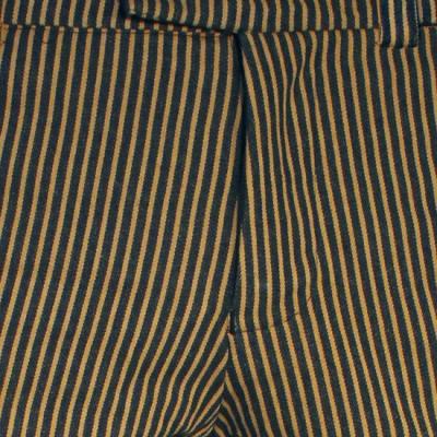 Foto van Chenaski - Retro broek recht model, denim met zand-strepen