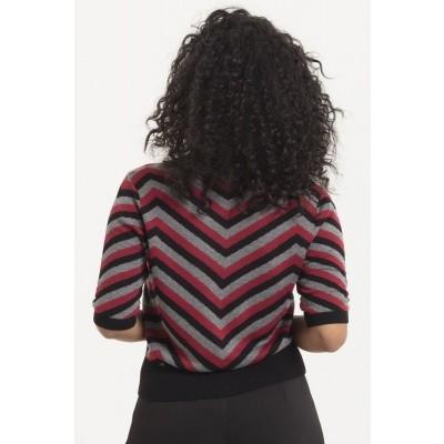 Foto van Cardigan Eliana, zwart met burgundy chevron patroon