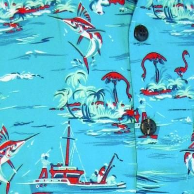 Foto van Overhemd korte mouw, Ocean view, turquoise